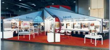 PowerGen Europe show - stand desined to look like turbine engine from the top and plenty of graphics and transparencies used to illuminate a stand that had no actual products to show. Full custom build stand.