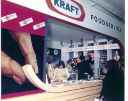 An oldie but a goldie - a custom built exhibition stand, the customer loved the way the counter top merged into the graphic as they were launching their cheese sticks.